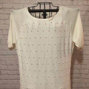 Joseph A short sleeve sweater with pearls
